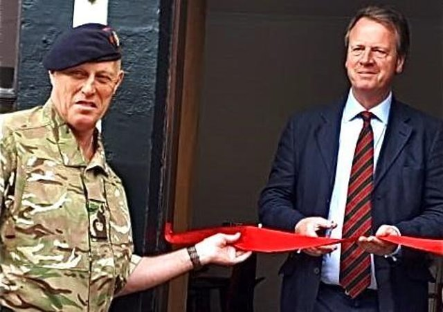 Dumfries and Galloway MP Alister Jack Alister Jack (right) with forces' charity leader Robin Hood from Castle Douglas