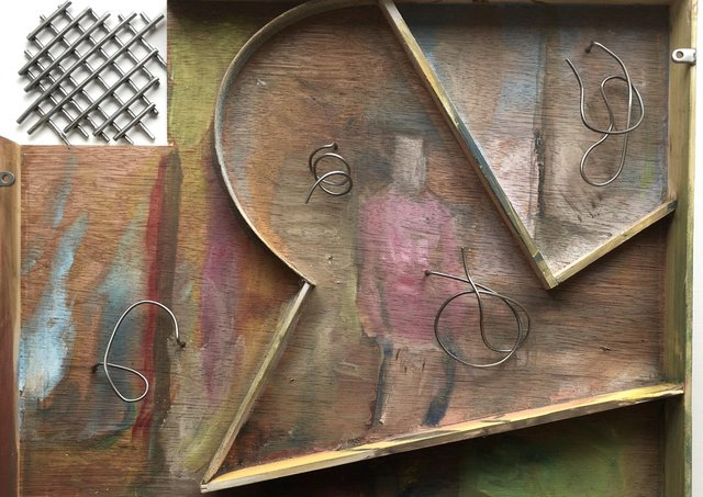 Sara Barker, work in progress, plywood, wire and oil paint, 2020. Courtesy of the artist