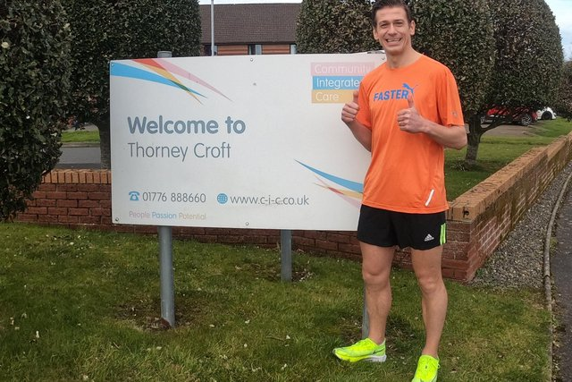 Ross Bark isrunning fourmiles, every fourhours for 48 hours in aid ofThorneycroft Care Home