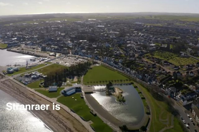 A screenshot of the drone footage as it arrives in Stranraer from the coast