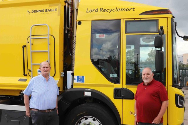 Councillors Andy Ferguson and John Martin with one of the bin lorries