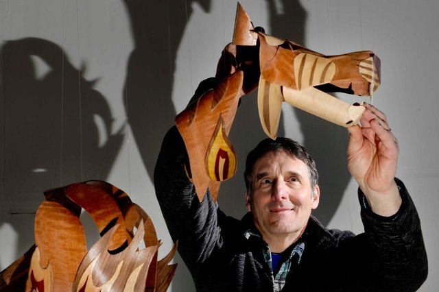 Jay Rubinstein with his giant Tyger mobile in his Dundrennan studio. Pic: Colin Hattersley Photography