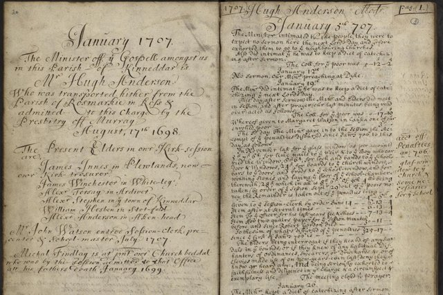 A typical page from Church of Scotland kirk session minute book for Drainie, Morayshire, noting parish misdemeanours and church discipline.