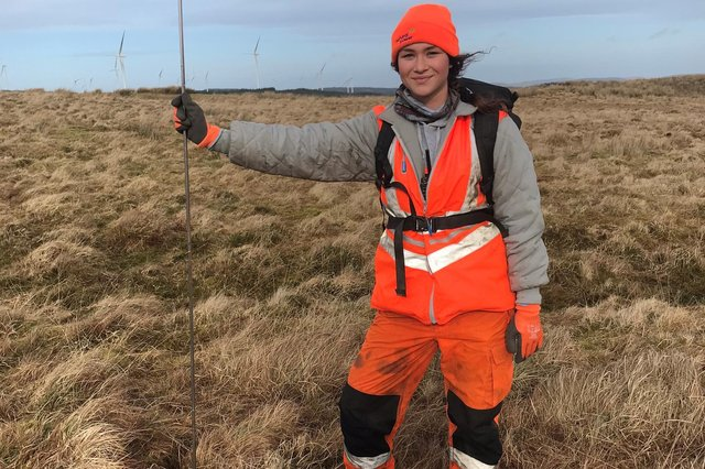 Amber Wrightisworking as a field technician with Natural Power Consultants