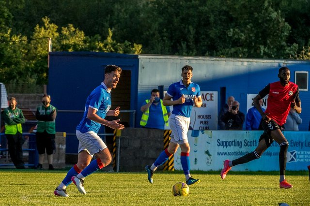 Stranraer captain Grant Gallagher in action during the pre-season friendly with Ayr United (pic: Bill McCandlish)