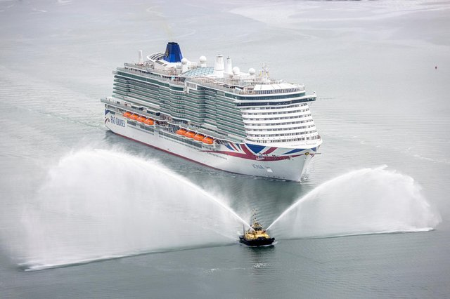 Britain's largest and most environmentally-friendly cruise ship,  Iona, arrives into her home port of Southampton ahead of her naming ceremony
