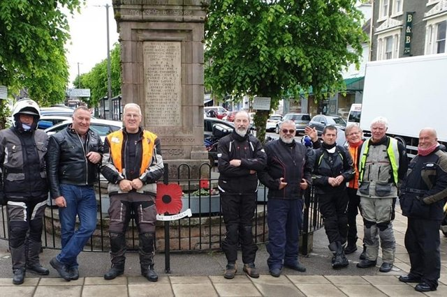 The bikers at the war memorial in Moffat as they toured South Lanarkshire last month