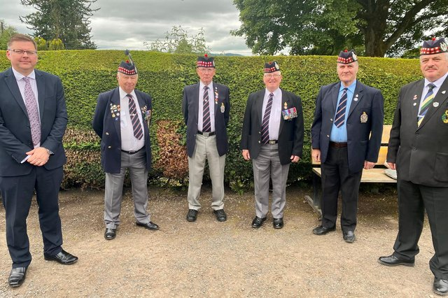 Colin Smyth MSP (left) withKOSB veterans from Stranraer and Councillor Archie Dryburgh (right)