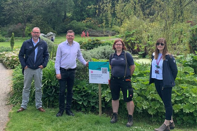Colin Smyth MSP (second, left) at Threave Garden and Estate with (l-r) head of conservation and policy at NTS Stuart Brooks, instructor gardener Nadine Stotten-Thom and visitor services manager Michelle Robertson