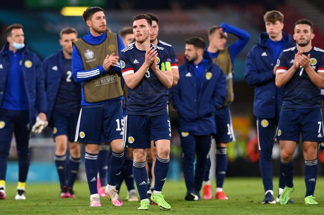 Scotland's players applauds the fans following to Croatia. (Photo by Stu Forster/Getty Images)