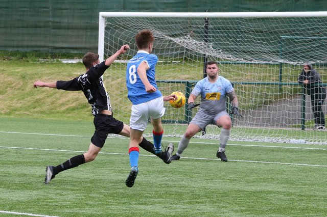 Action from Newton Stewart's friendly with Stranraer Reserves (pic: Bill McCandlish)